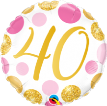 "40 Birthday Pink & Gold Dots Foil Balloon (18"") 1pc"